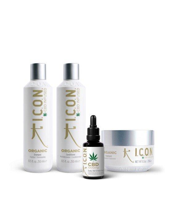 Pack Icon Orgánico. (Champú, Acondicionador, Mascarilla y Aceite) Tratamientos y keratina